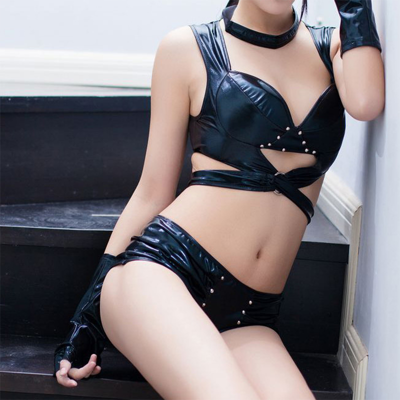 Secrexy Women Black Cool Leather Hollow Out Nightwear Sexy Waist Cross Belt Clubwear