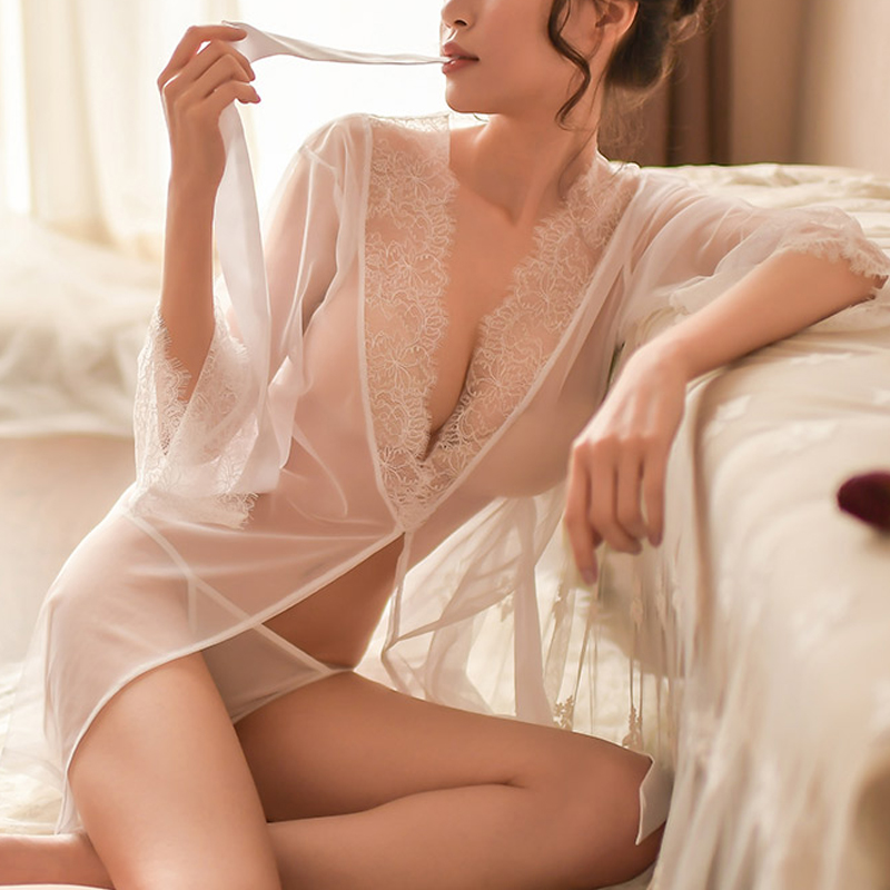 Sexy Mesh Eyelash Long Sleeve Gowns Sexy Lingerie For Female Women