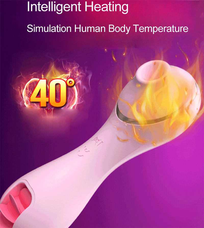 Electro Tongue Rotating Licking Clit Suction Vibrator Silicone Heating Oral Sex Clit Stimulator