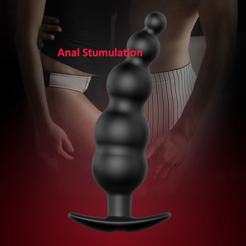 Black Vibrating Beads 12 Frequency Anal Toy Plug Remote Control Powerful Vibrating Toys