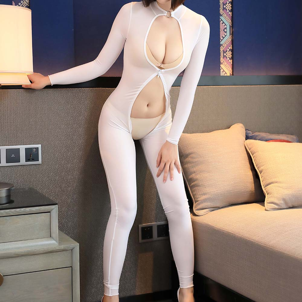 Zipper Glaze See Through Sexy Bodystockings For Female Sexy Lingerie