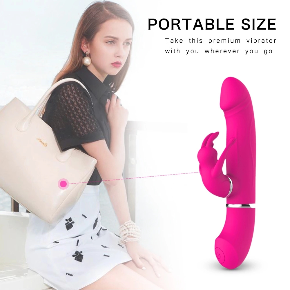 Replaceable Rabbit Stimulator Rechargeable Realistic Dildo G Spot Vagina Turn Beads Massage Adult To