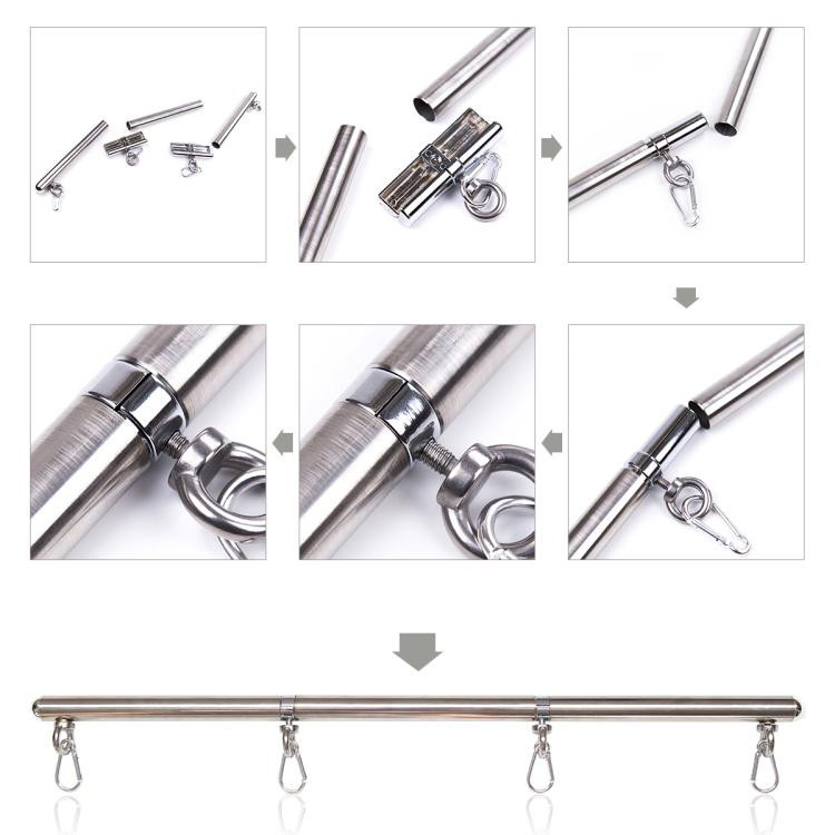 Stainless Tube Wrist and Ankles Cuffs Spread Bars For Couples Sex Toys