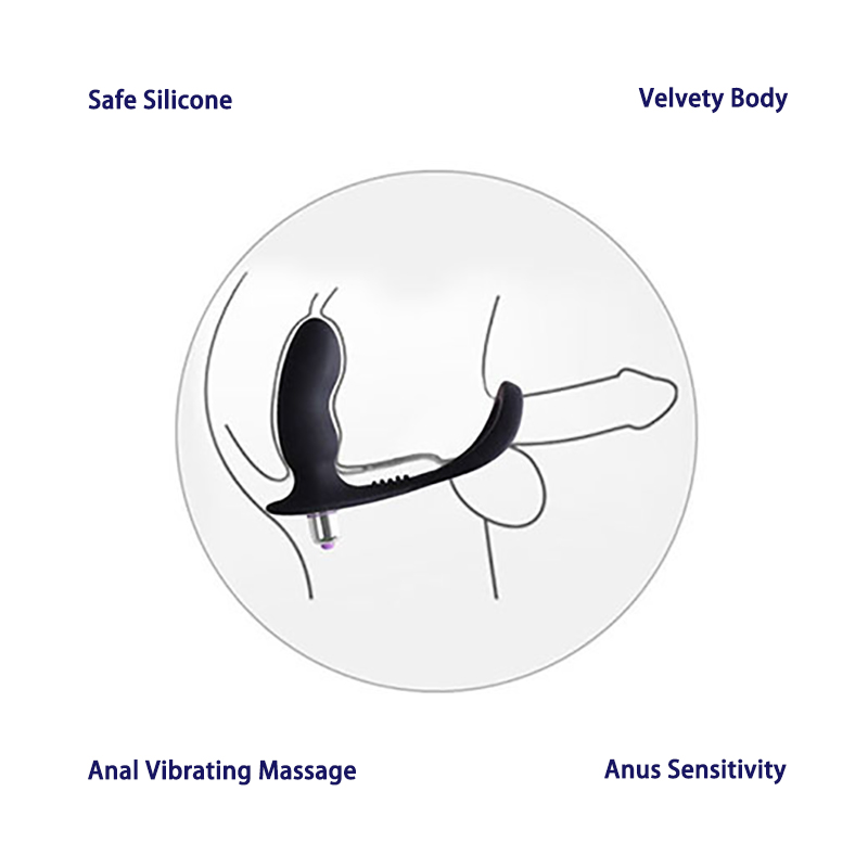 LEVETT Stimulate Prostate 3 Modes Vibrating Healthy Silicone Anal Massager Cock Ring