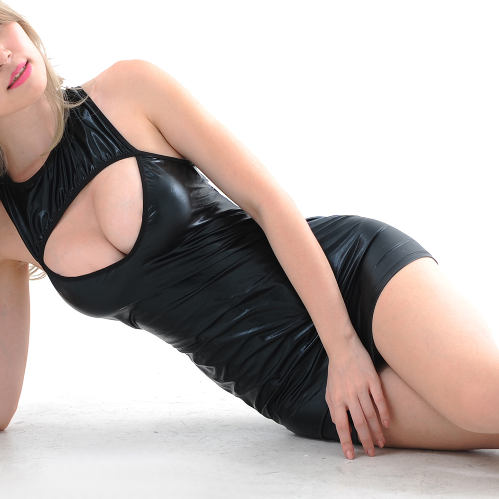 Passion Breast Exposed Leather Chemise Sexy Clubwear Sexy Lingerie