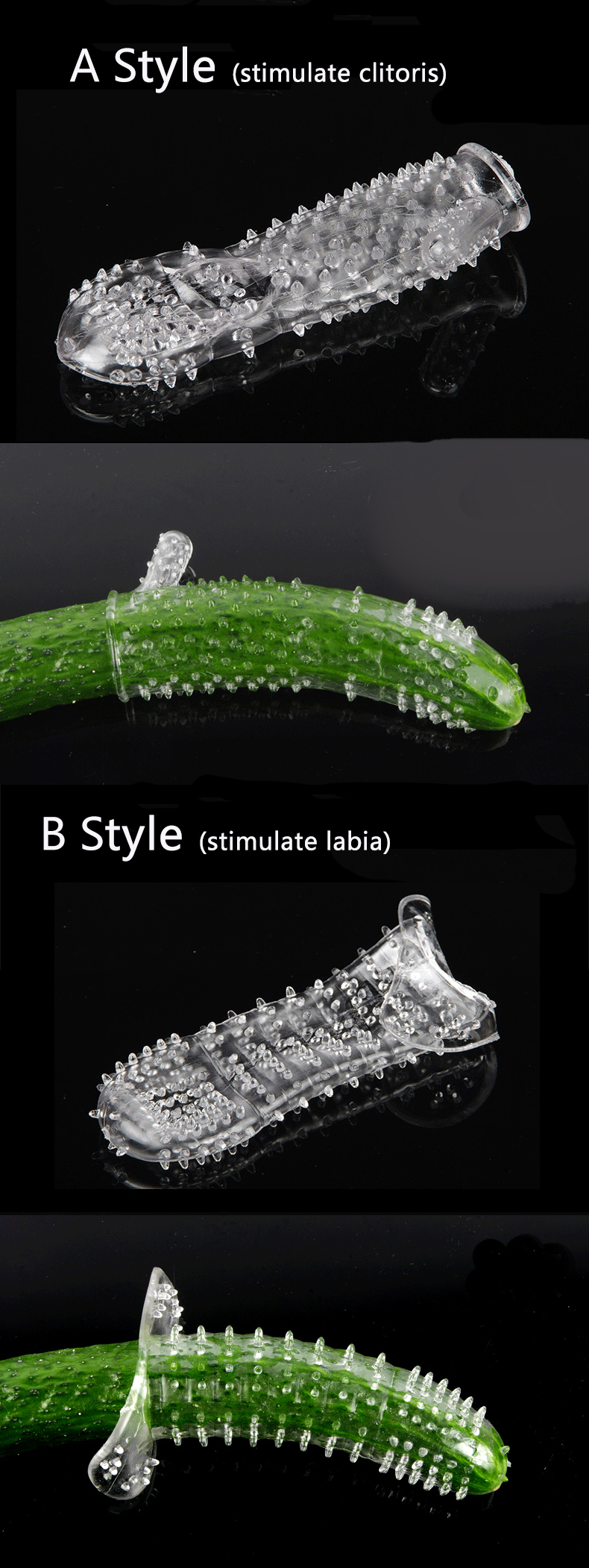 Transparent Soft Thorn TPE Stimulate Clitoris Delay Time Penis Sleeve Sex Product For Male
