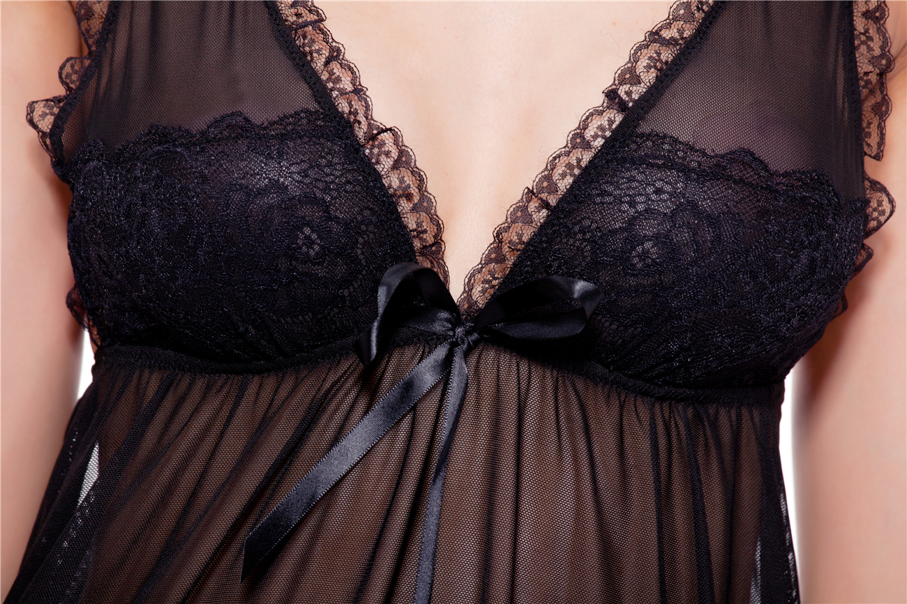 Black Flirty Plunge Lace-trim Perspective Babydoll Female Sexy Lingeire