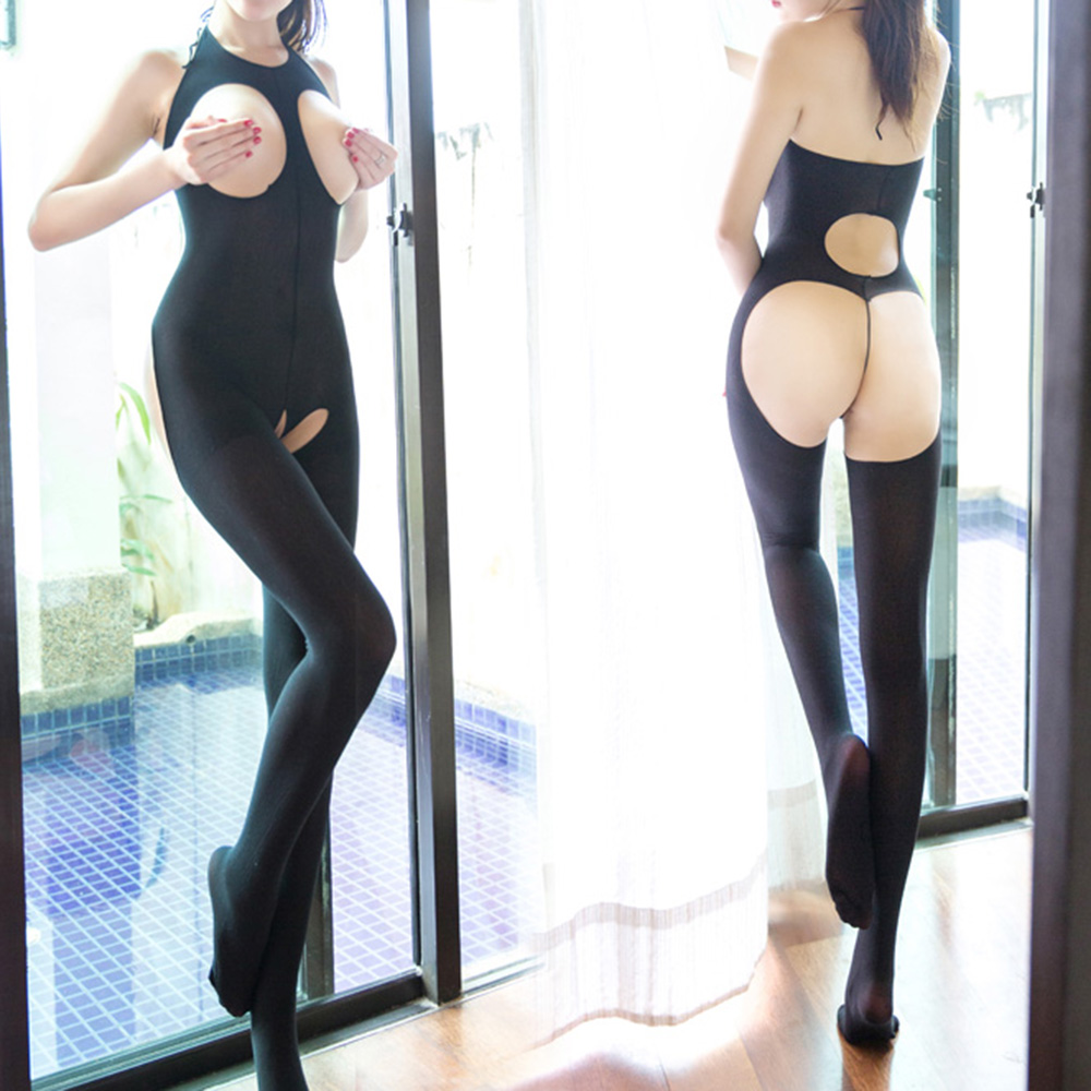 Halter Cupless Open Ctotch Mesh Smooth Bodystocking Butt Exposed Sexy Lingerie
