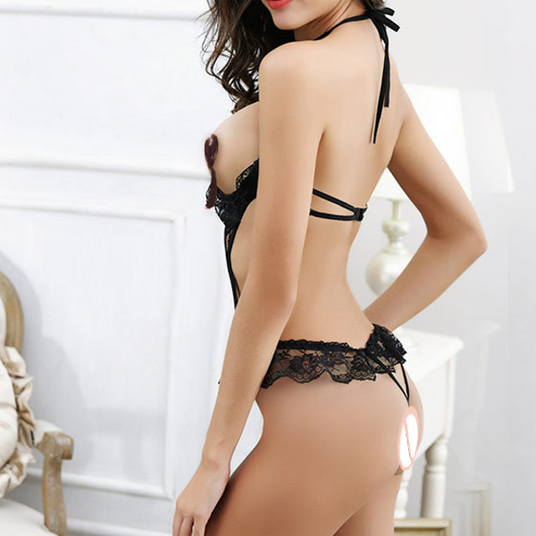 Women Sexy Chest Hollow Out Halter Teddies Black Lace Underwire Open Crotch Elastic Nightwear