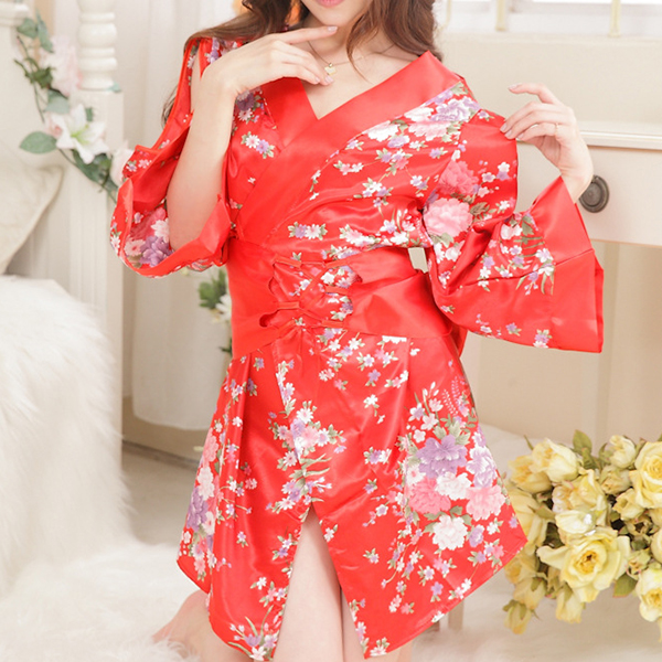 Sexy Red Floral Printed Kimono Arm Hollow Out Temptation Three-Piece Intimate Lingerie Sets For Women