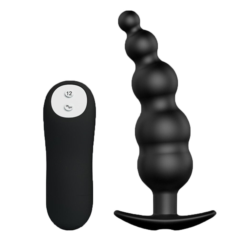 Black Vibrating Beads 12 Frequency Anal Toy Plug