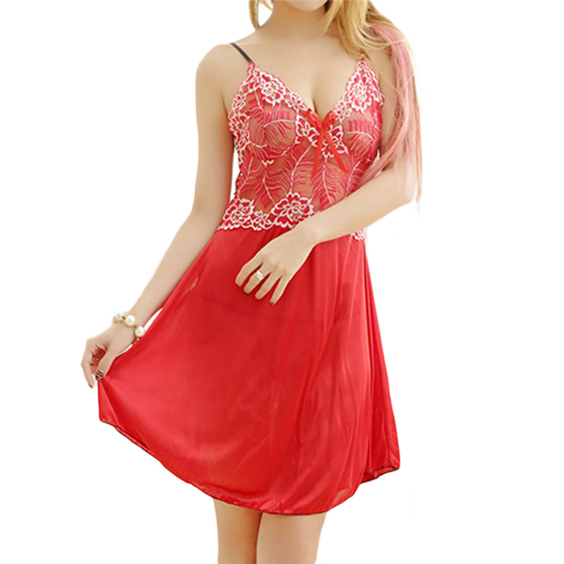 Lace Embroidery Deep V Mesh Breathable Perspective Babydoll