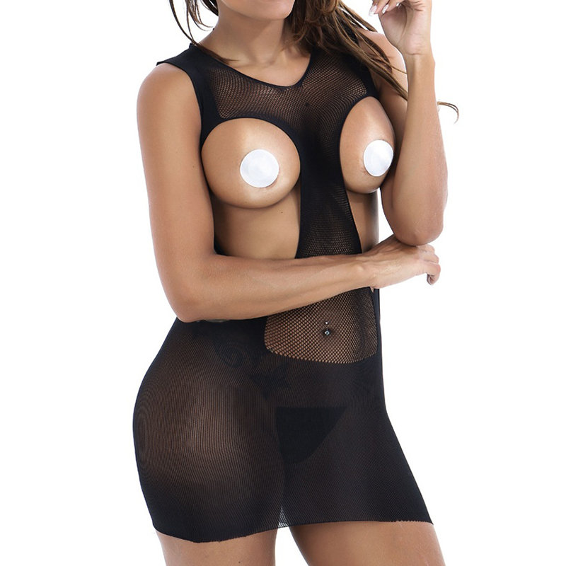 Expose Chest Hollow Out Stretchy Soft Chemise