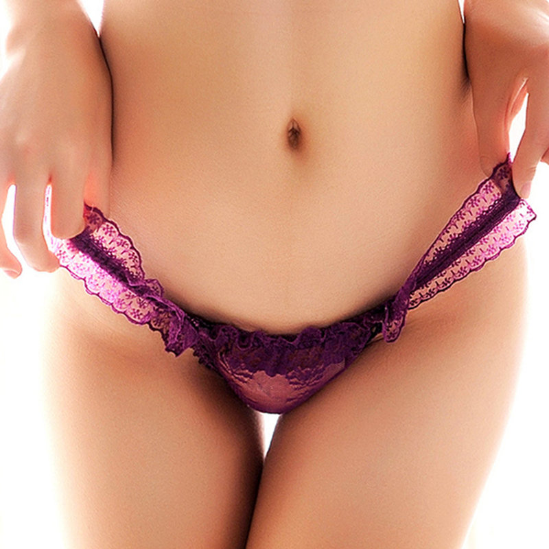 Sexy Lace See Through Bowknot Temptation Briefs